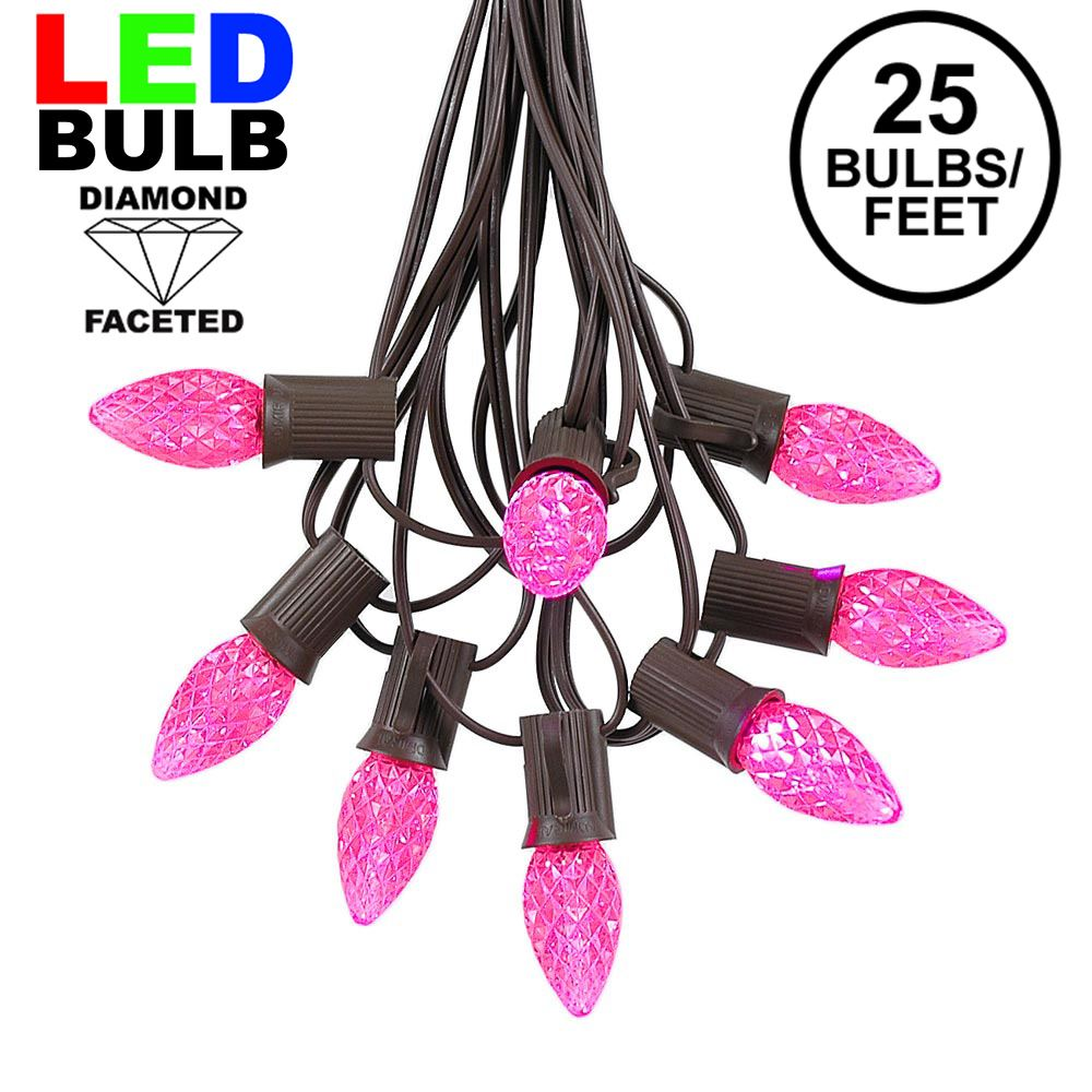 Picture of 25 Light String Set with Pink LED C7 Bulbs on Brown Wire