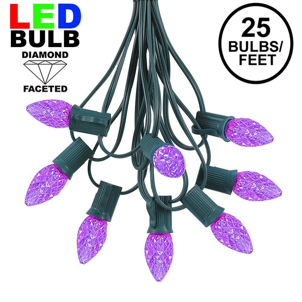 Picture of 25 Light String Set with Purple LED C7 Bulbs on Green Wire
