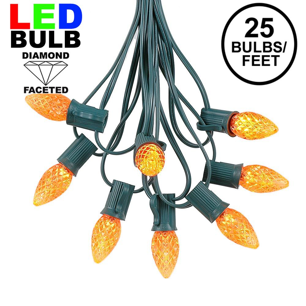 Picture of 25 Light String Set with Amber/Orange LED C7 Bulbs on Green Wire