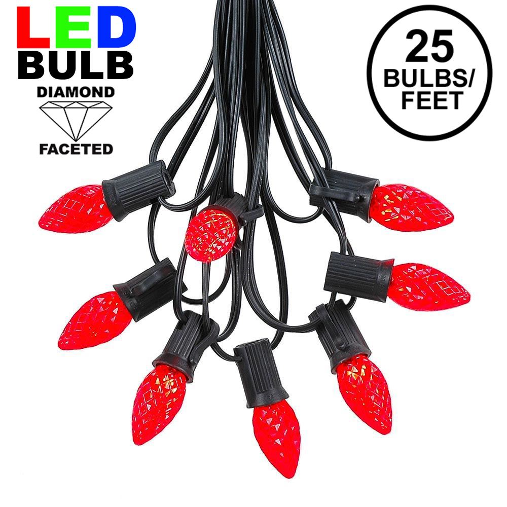 Picture of 25 Light String Set with Red LED C7 Bulbs on Black Wire