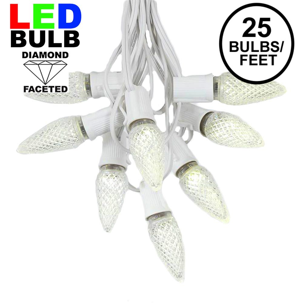 Picture of 25 Light String Set with Warm White LED C9 Bulbs on White Wire
