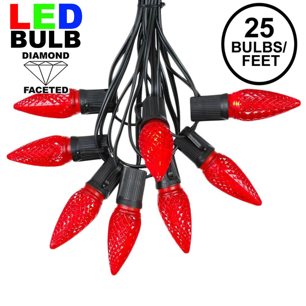 Picture of 25 Light String Set with Red LED C9 Bulbs on Black Wire