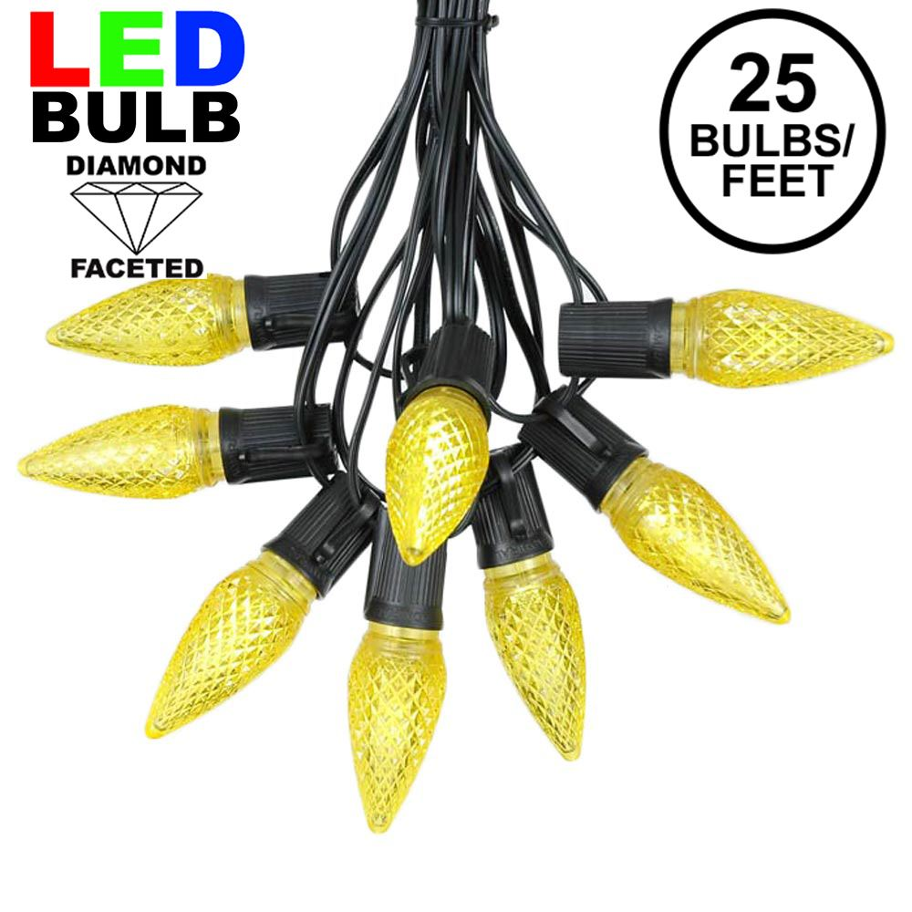 Picture of 25 Light String Set with Yellow LED C9 Bulbs on Black Wire