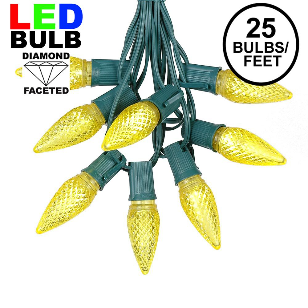 Picture of 25 Light String Set with Yellow LED C9 Bulbs on Green Wire