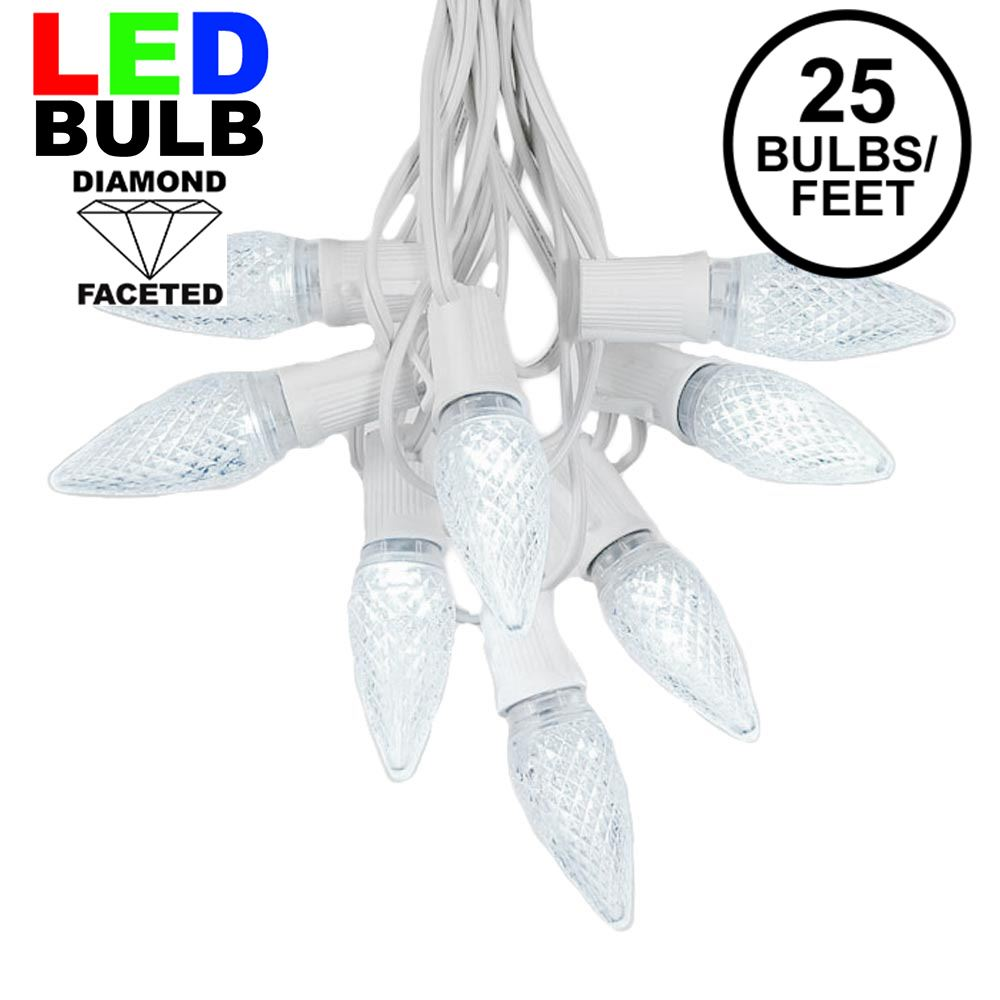 Picture of 25 Light String Set with Pure White LED C9 Bulbs on White Wire