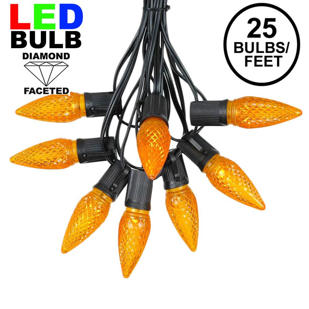Picture of 25 Light String Set with Amber (Orange) LED C9 Bulbs on Black Wire