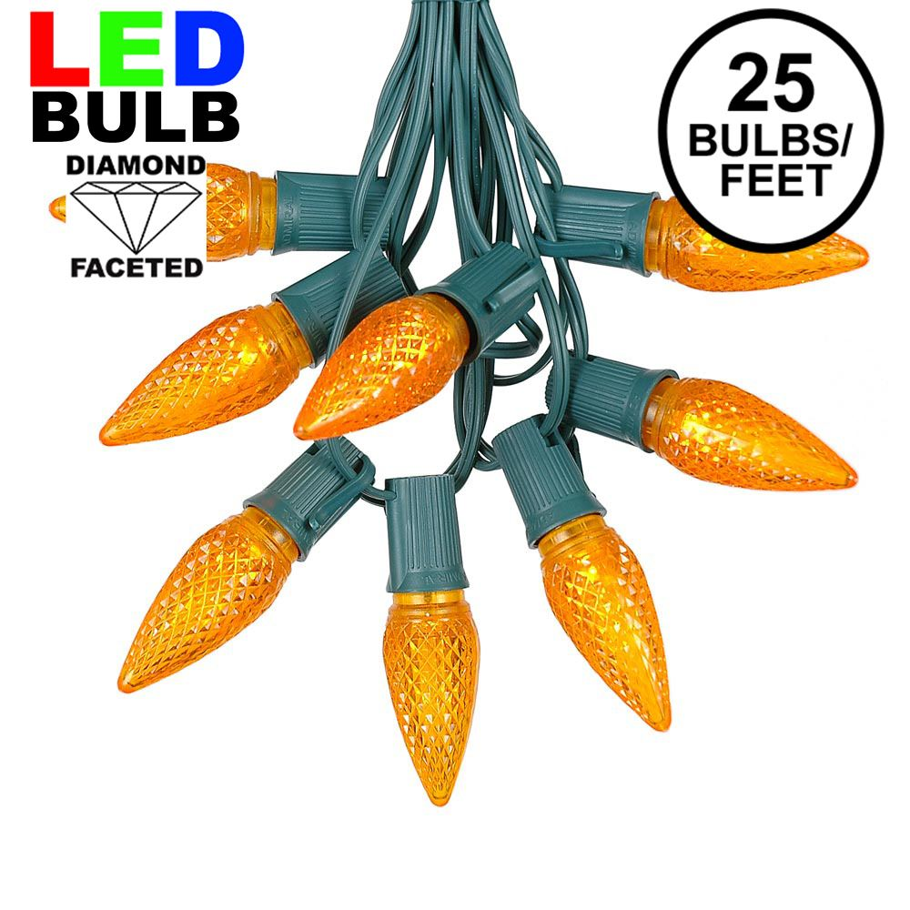 Picture of 25 Light String Set with Amber (Orange) LED C9 Bulbs on Green Wire