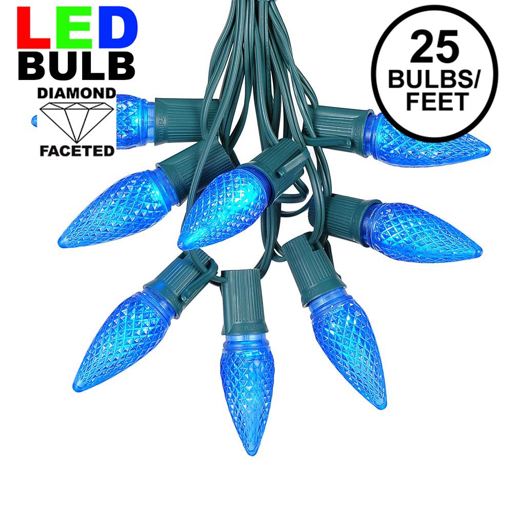 Picture of 25 Light String Set with Blue LED C9 Bulbs on Green Wire