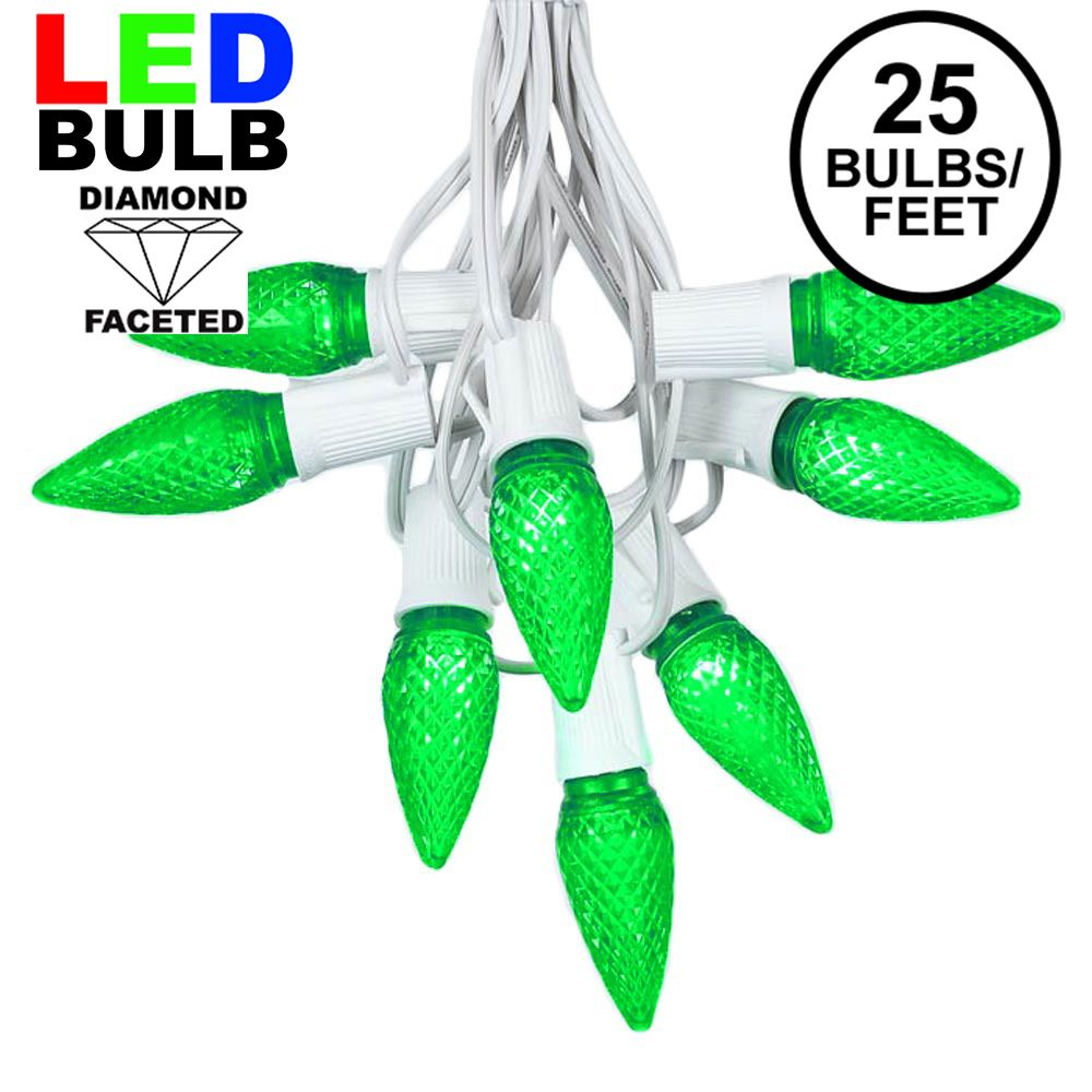 Picture of 25 Light String Set with Green LED C9 Bulbs on White Wire