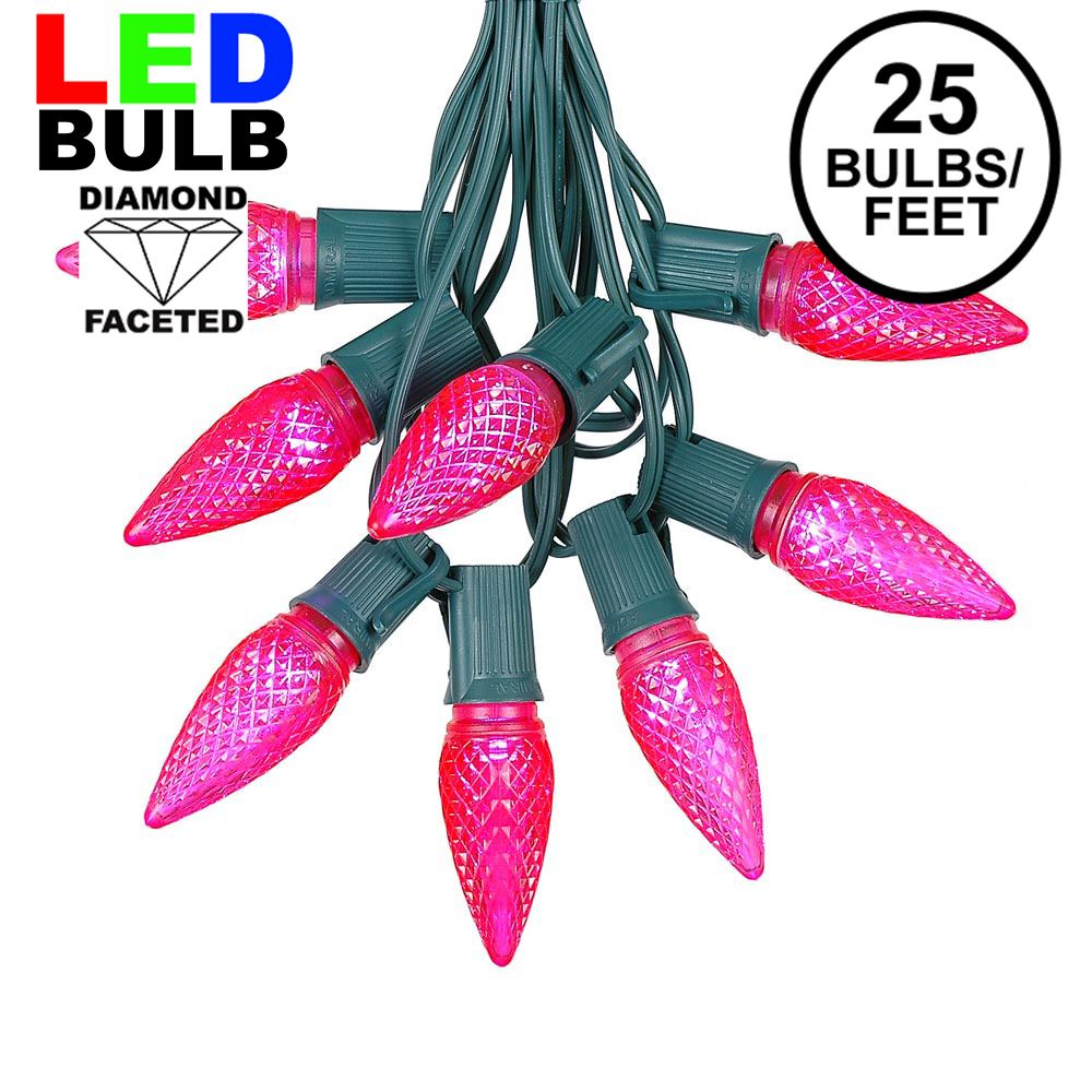 Picture of 25 Light String Set with Pink LED C9 Bulbs on Green Wire