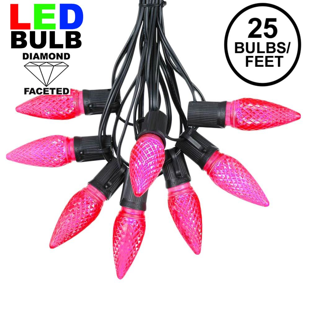 Picture of 25 Light String Set with Pink LED C9 Bulbs on Black Wire