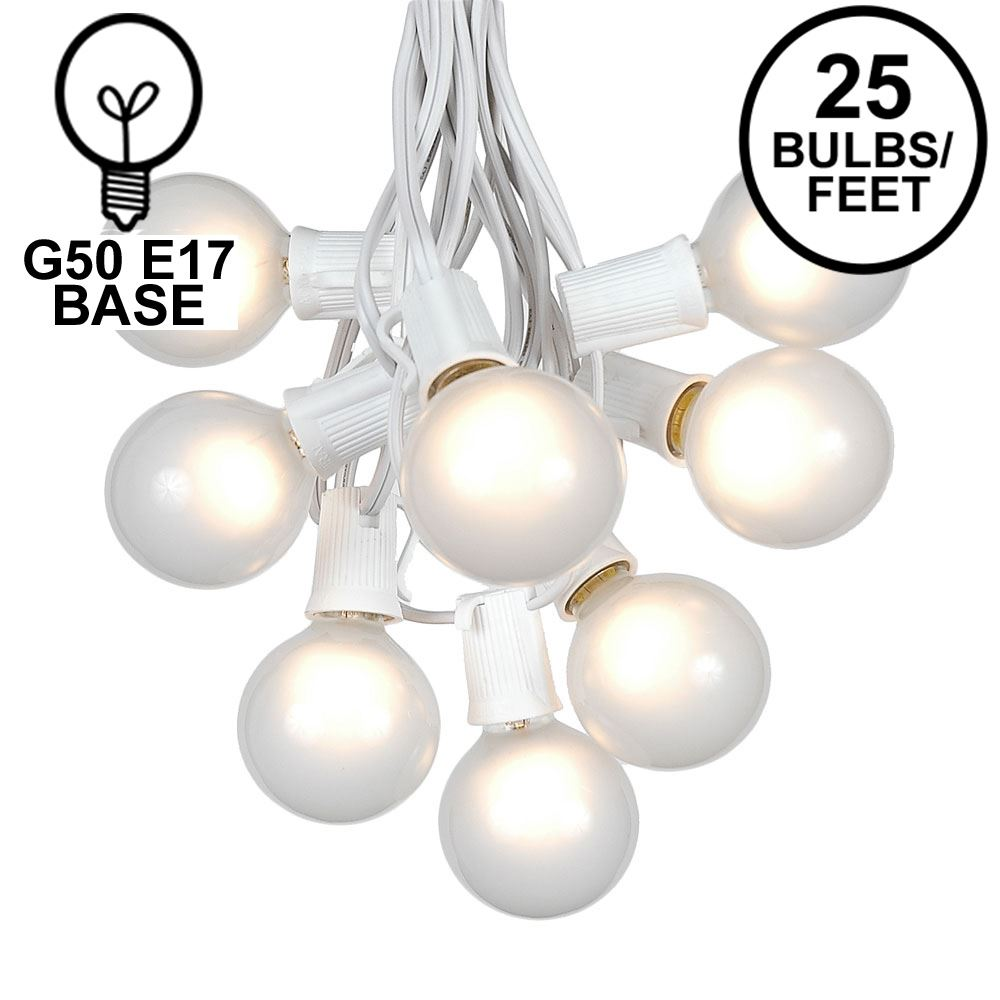 Picture of 25 G50 Globe Light String Set with Frosted Bulbs on White Wire