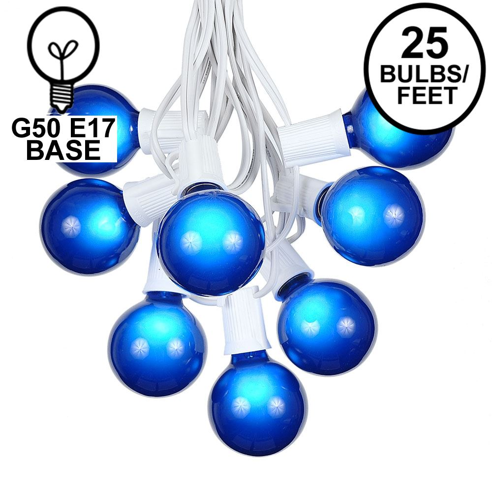 Picture of 25 G50 Globe Light String Set with Blue Bulbs on White Wire