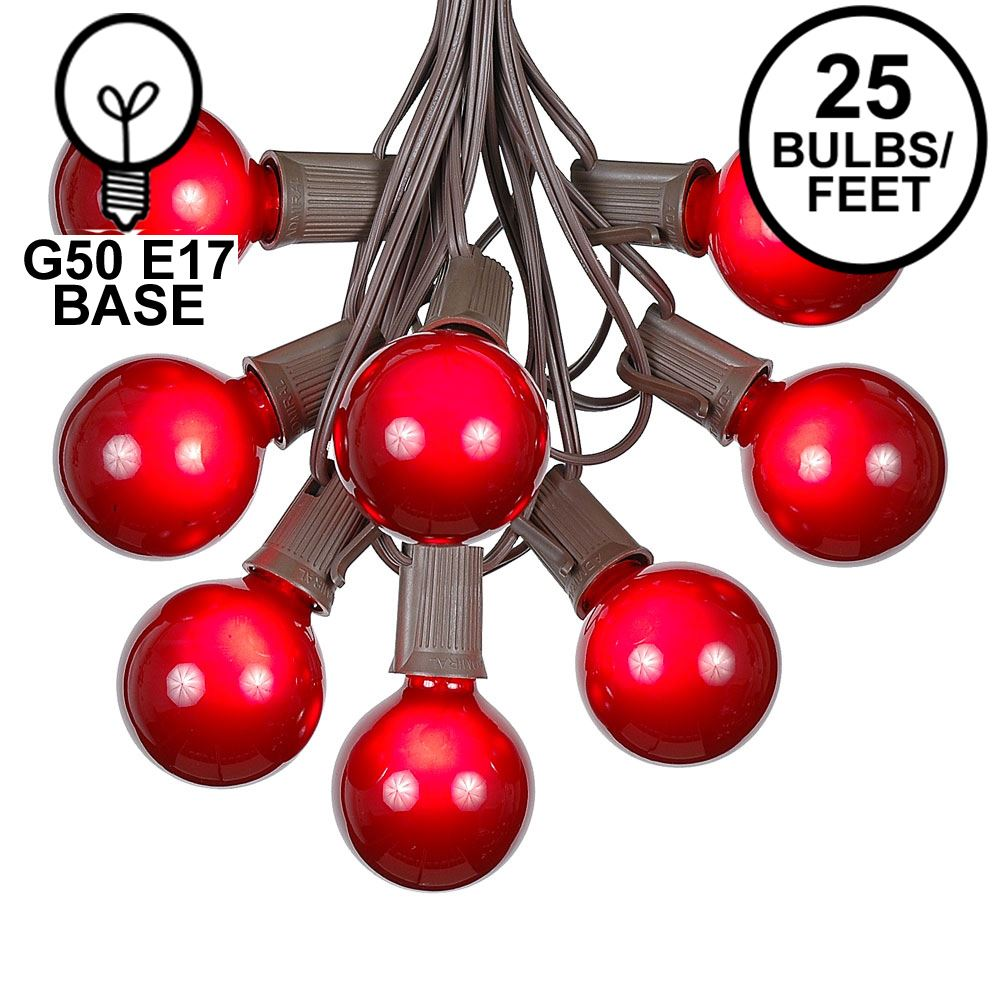 Picture of 25 G50 Globe Light String Set with Red Bulbs on Brown Wire