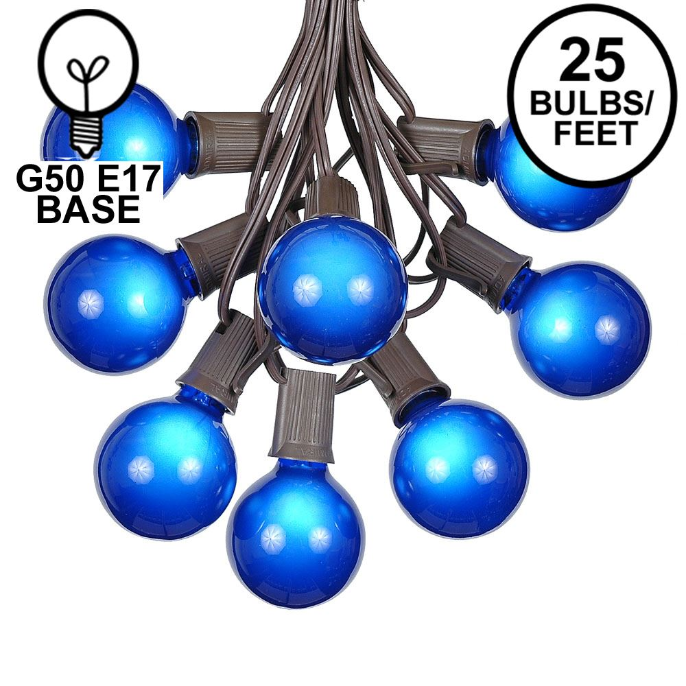 Picture of 25 G50 Globe Light String Set with Blue Bulbs on Brown Wire