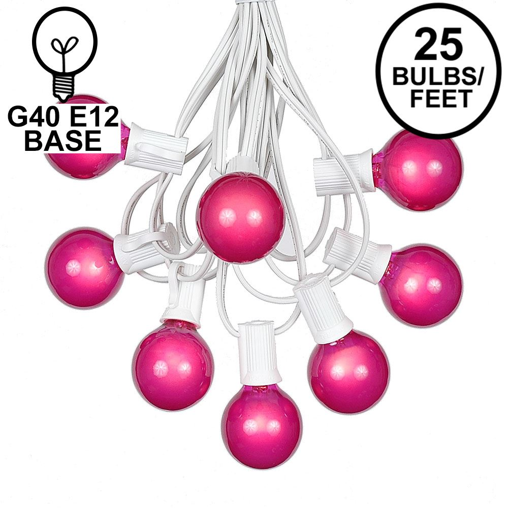Picture of 25 G40 Globe String Light Set with Pink Satin Bulbs on White Wire