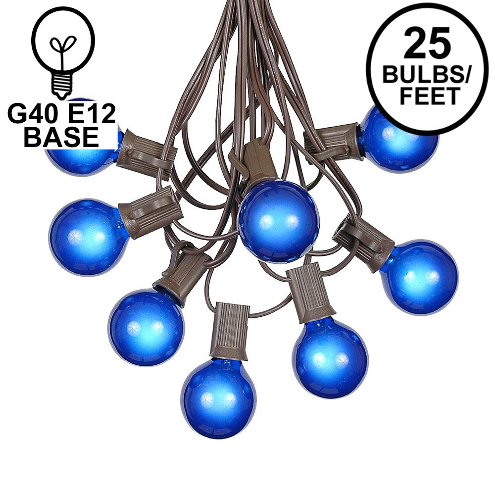 Picture of 25 G40 Globe String Light Set with Blue Satin Bulbs on Brown Wire