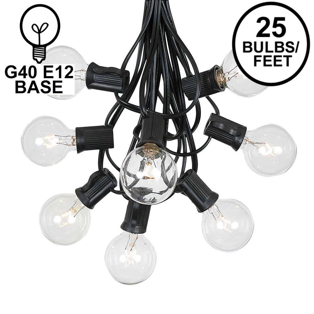 Picture of 25 G40 Globe String Light Set with Clear Bulbs on Black Wire