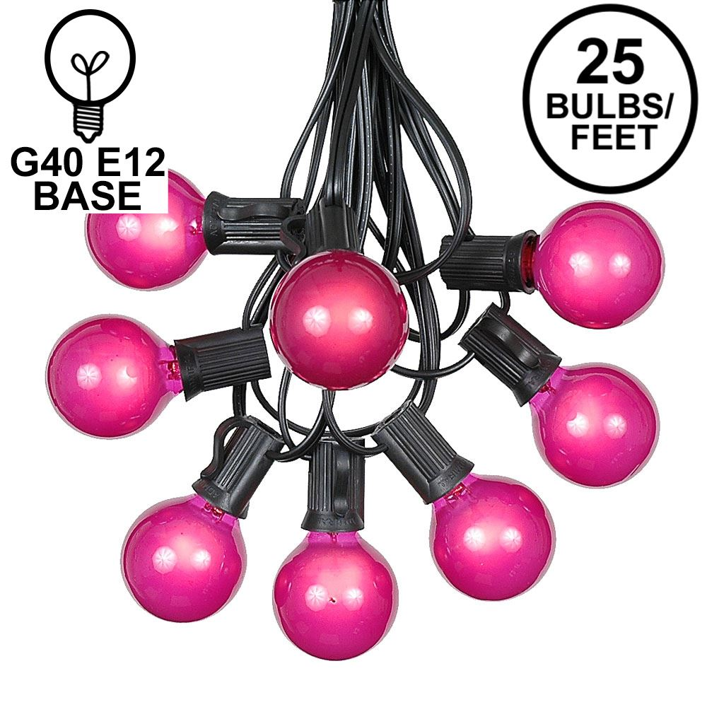 Picture of 25 G40 Globe String Light Set with Pink Satin Bulbs on Black Wire