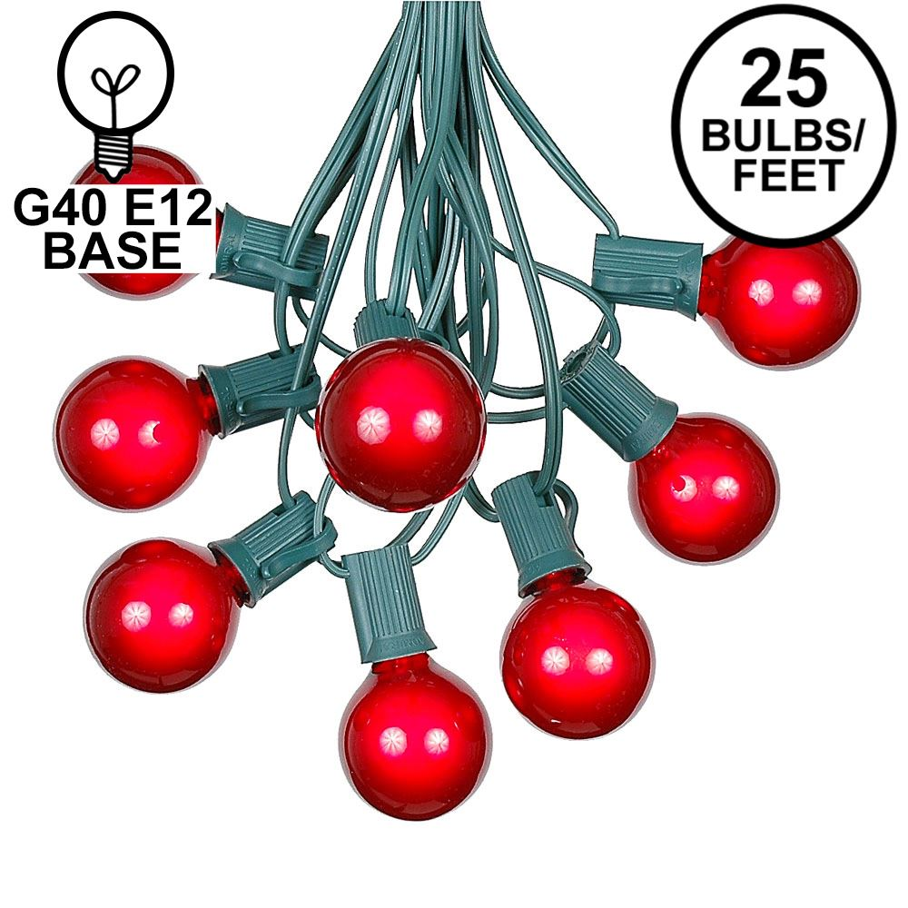 Picture of 25 G40 Globe String Light Set with Red Bulbs on Green Wire