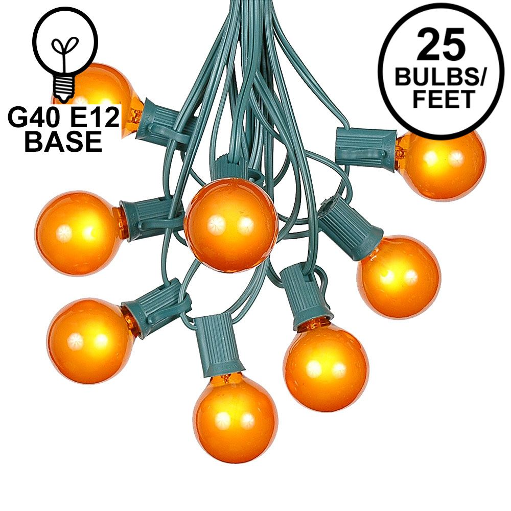 Picture of 25 G40 Globe String Light Set with Orange Satin Bulbs on Green Wire