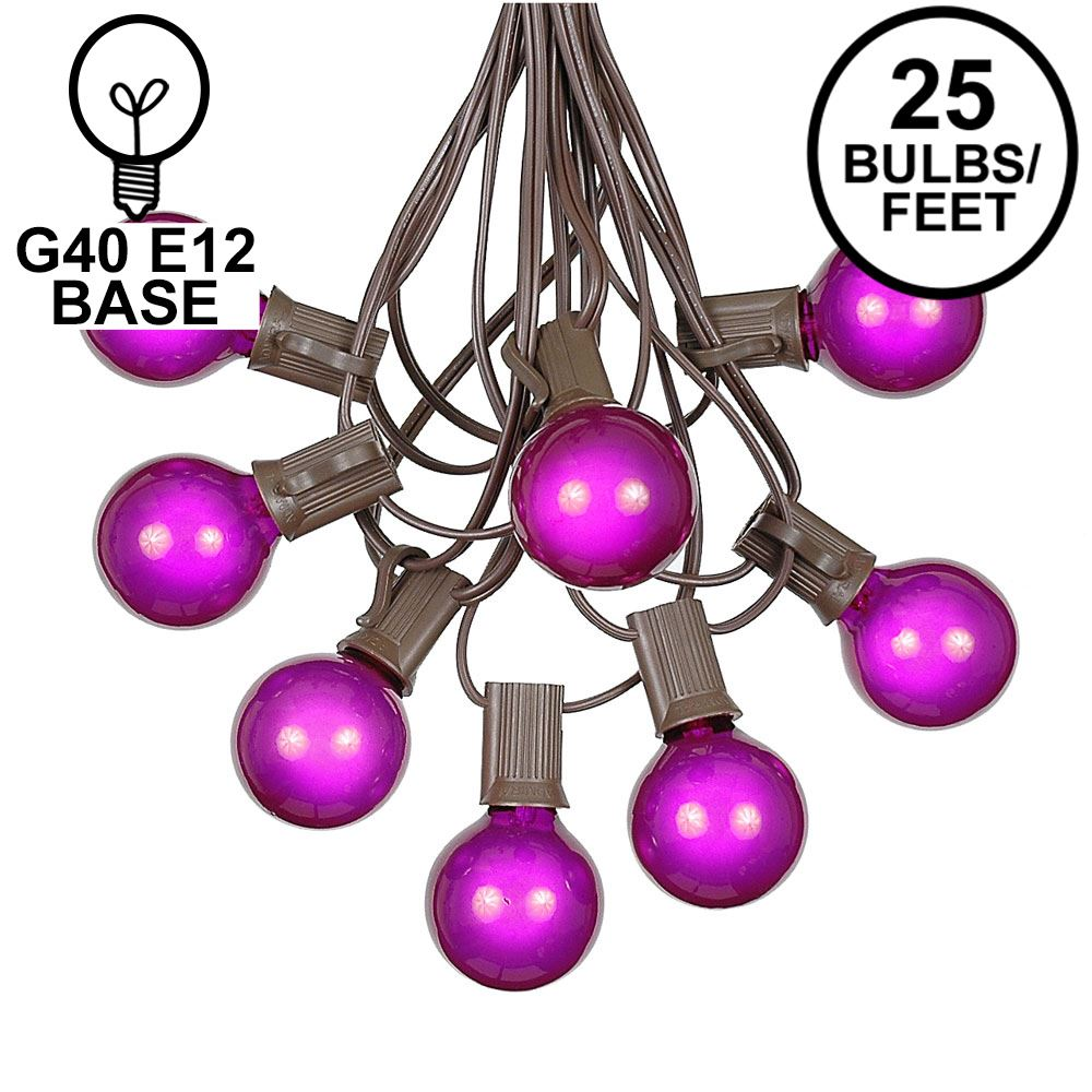 Picture of 25 G40 Globe String Light Set with Purple Satin Bulbs on Brown Wire