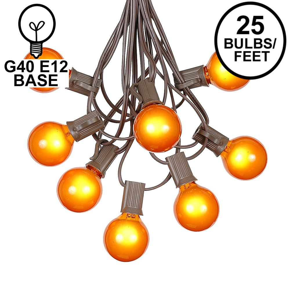 Picture of 25 G40 Globe String Light Set with Orange Satin Bulbs on Brown Wire