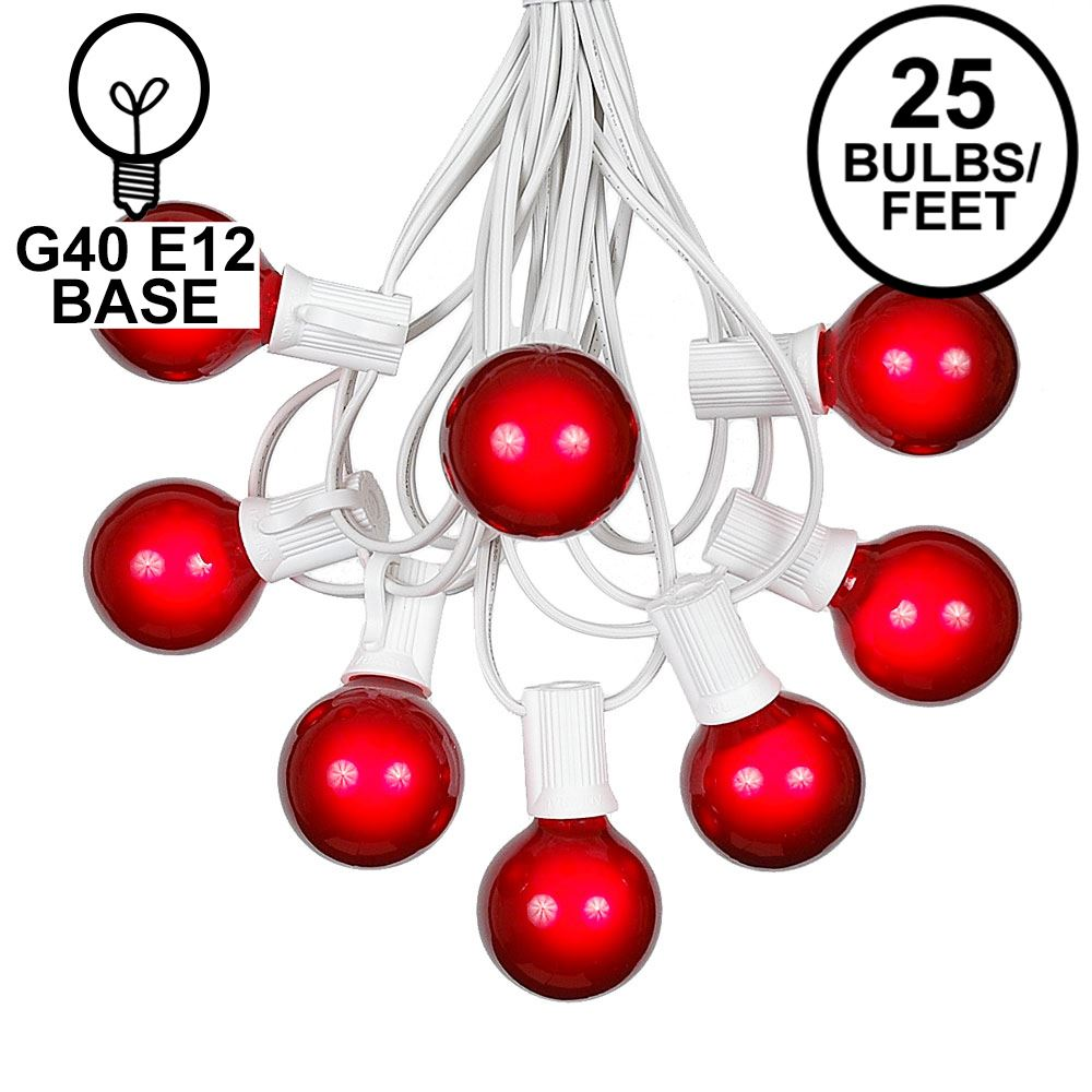 Picture of 25 G40 Globe String Light Set with Red Satin Bulbs on White Wire