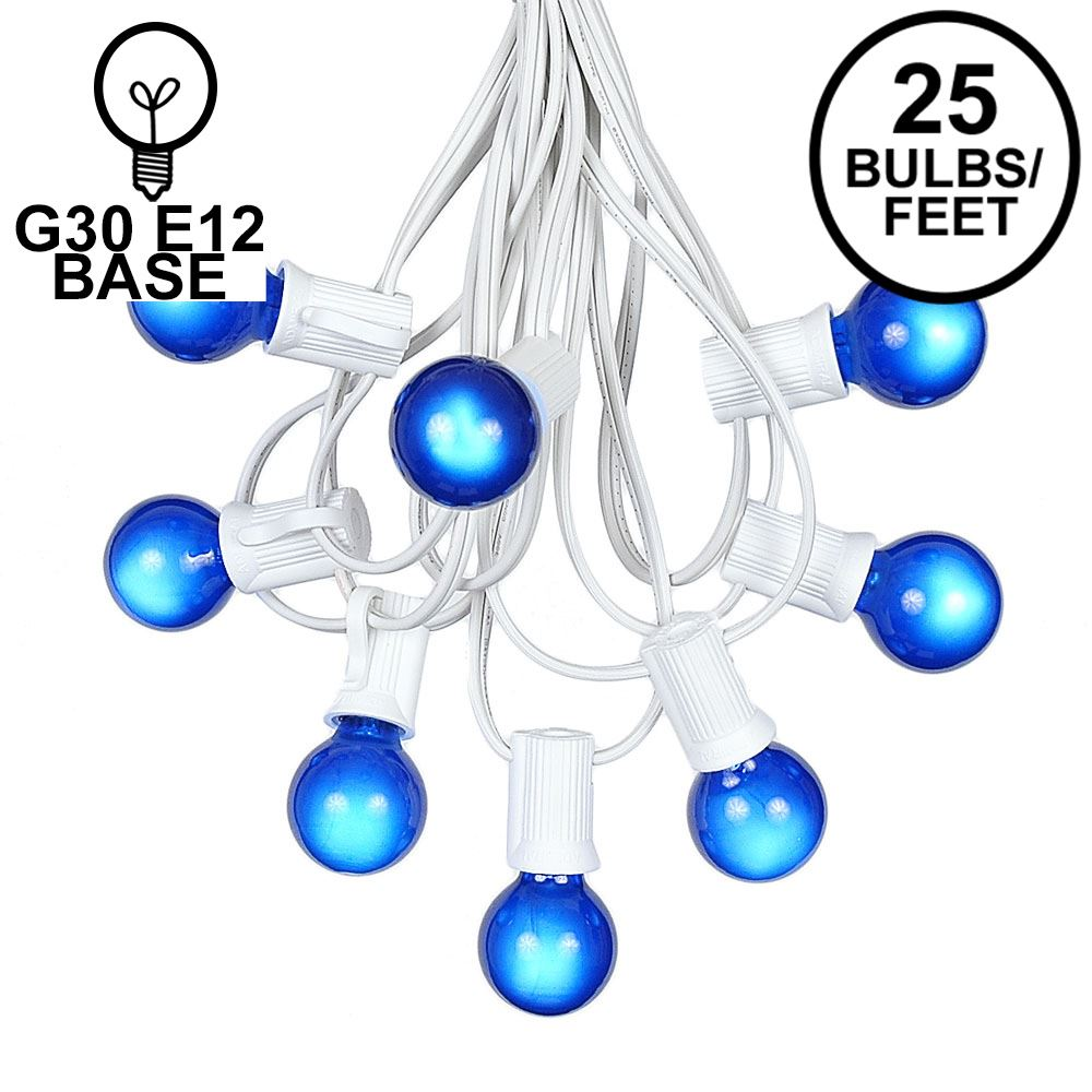 Picture of 25 G30 Globe Light String Set with Blue Bulbs on White Wire