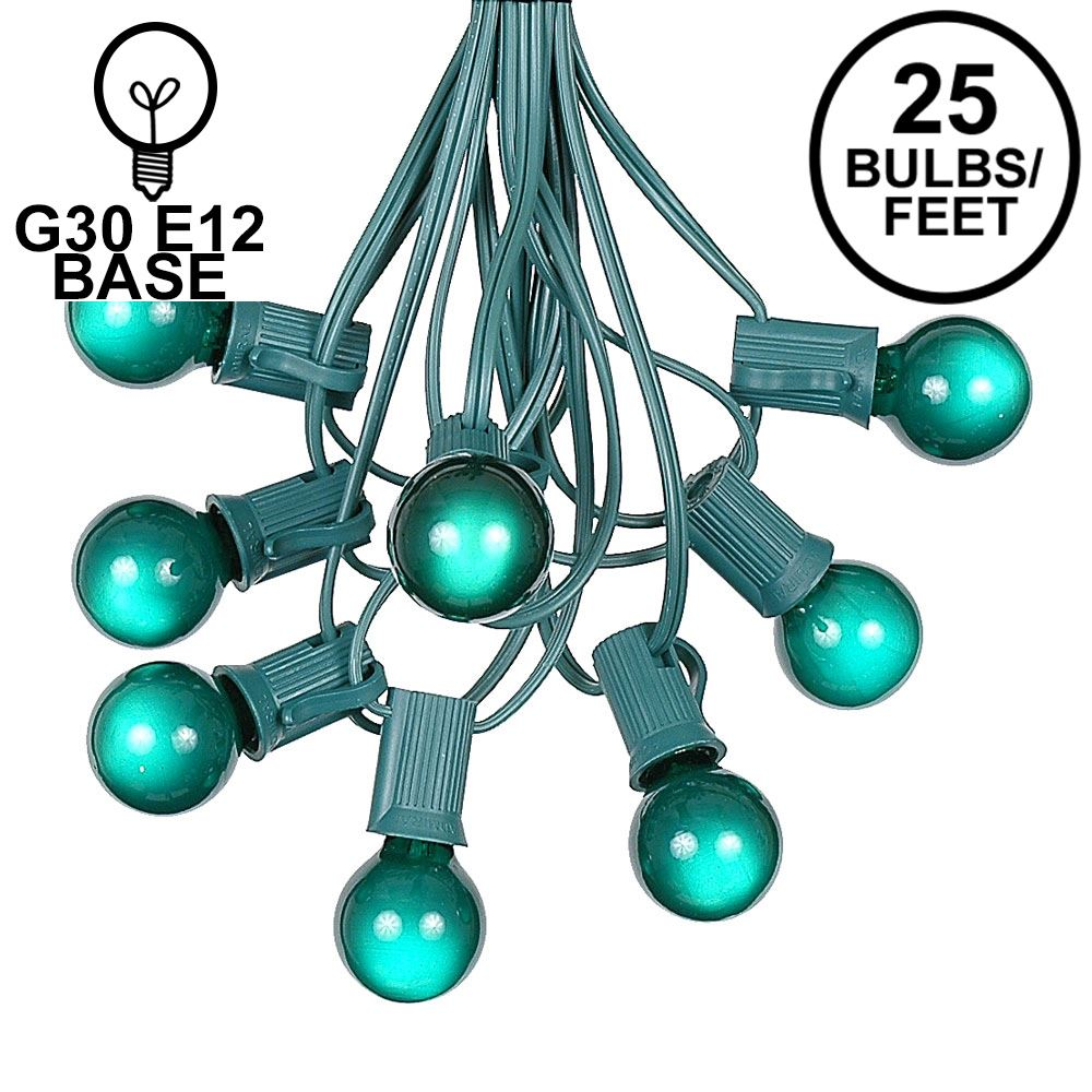 Picture of 25 G30 Globe Light String Set with Green Satin Bulbs on Green Wire