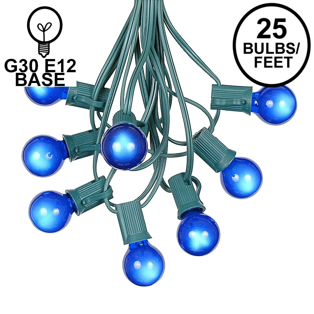 Picture of 25 G30 Globe Light String Set with Blue Satin Bulbs on Green Wire