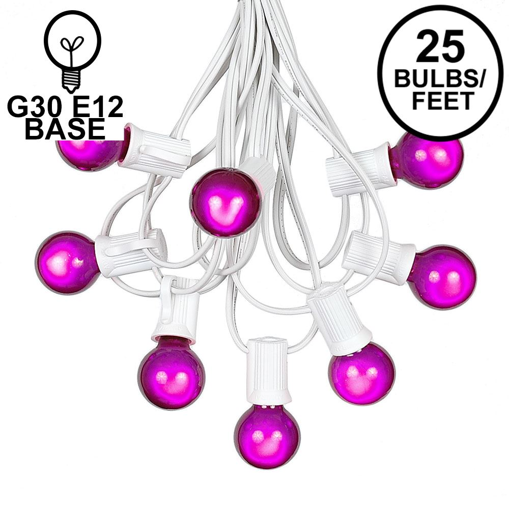Picture of 25 G30 Globe Light String Set with Purple Satin Bulbs on White Wire
