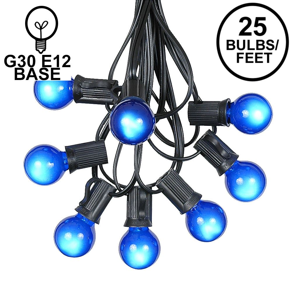 Picture of 25 G30 Globe Light String Set with Blue Satin Bulbs on Black Wire
