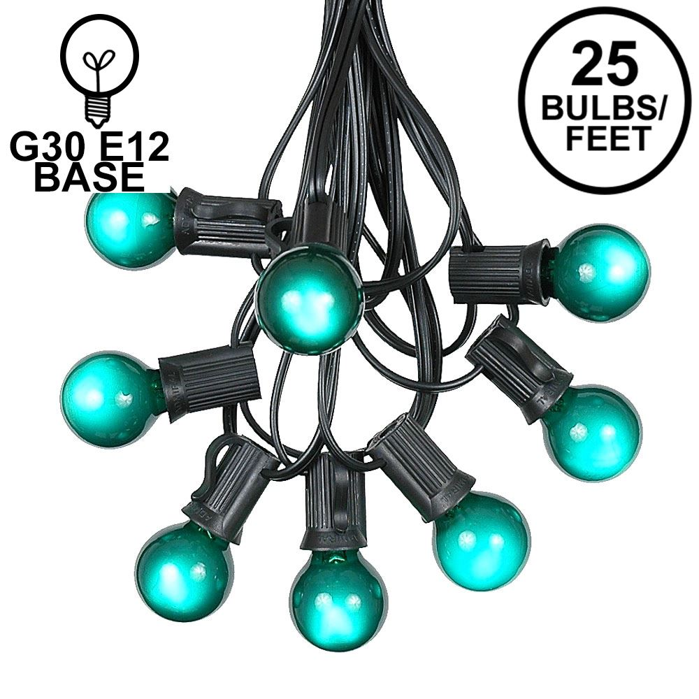 Picture of 25 G30 Globe Light String Set with Green Satin Bulbs on Black Wire