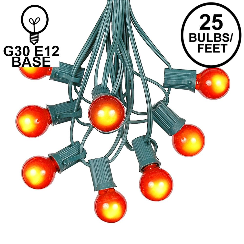 Picture of 25 G30 Globe Light String Set with Orange Bulbs on Green Wire
