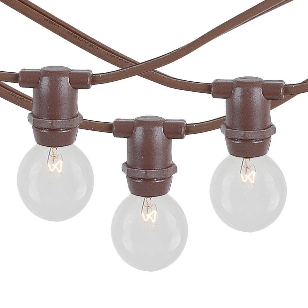Picture of 25 Clear G30 Commercial Grade Candelabra Base Light Set - Brown Wire