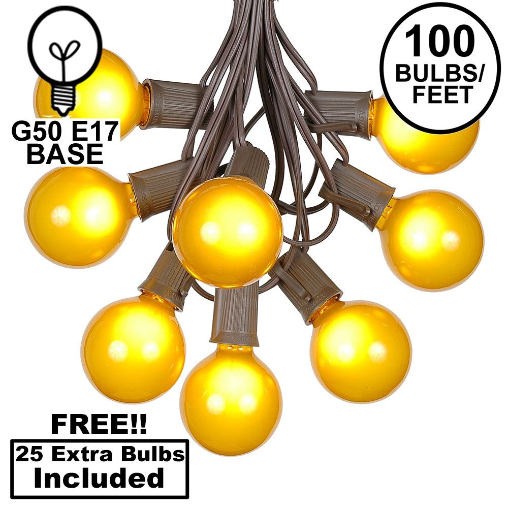 Picture of 100 G50 Globe Light String Set with Yellow Bulbs on Brown Wire