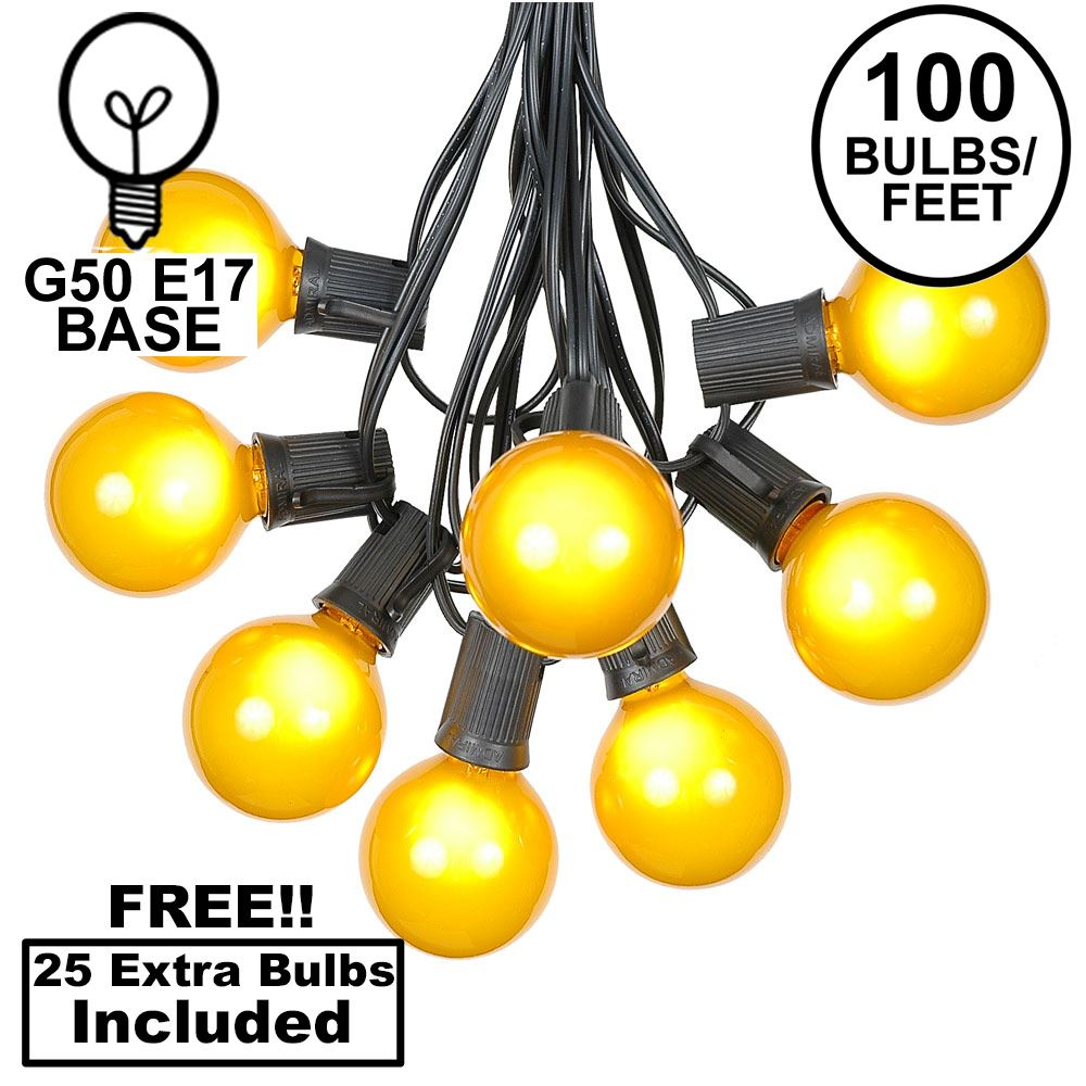 Picture of 100 G50 Globe Light String Set with Yellow Bulbs on Black Wire