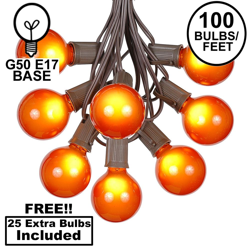 Picture of 100 G50 Globe Light String Set with Orange Bulbs on Brown Wire