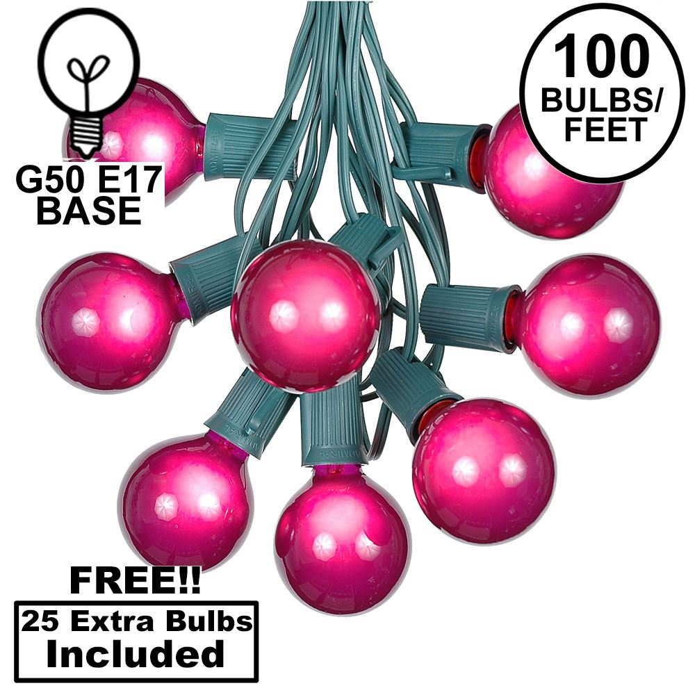 Picture of 100 G50 Globe Light String Set with Purple on Green Wire
