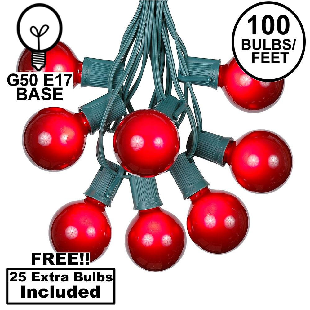 Picture of 100 G50 Globe Light String Set with Red on Green Wire