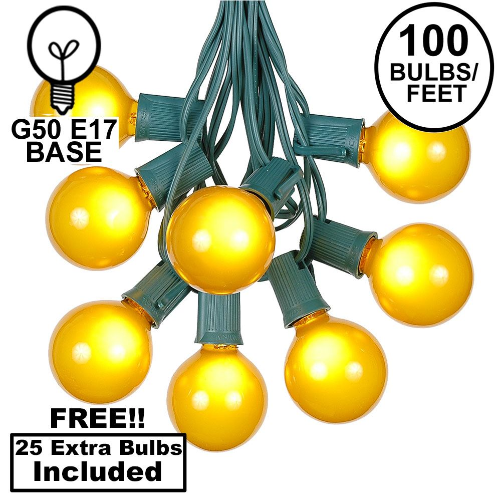 Picture of 100 G50 Globe Light String Set with Yellow on Green Wire