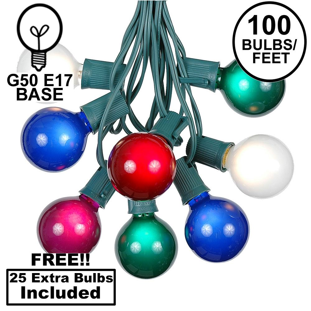 Picture of 100 G50 Globe Light String Set with Multi on Green Wire
