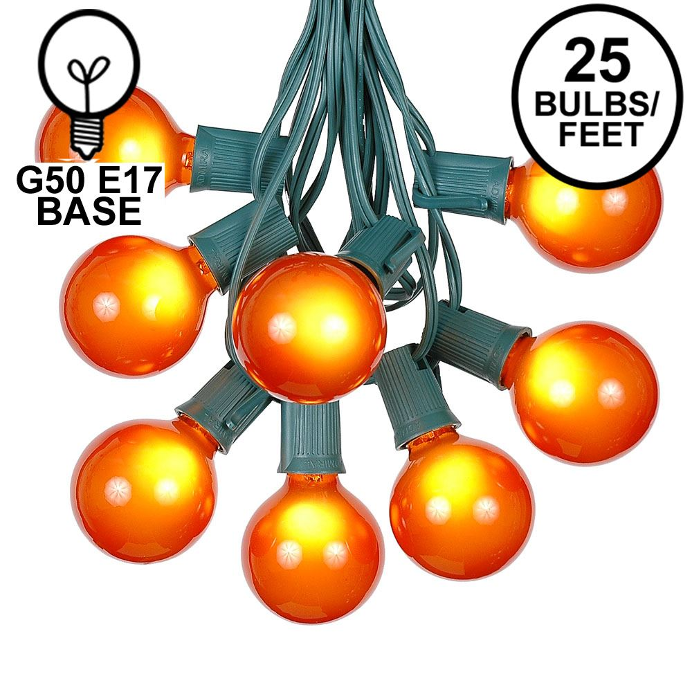 Picture of 25 G50 Globe Light String Set with Orange Bulbs on Green Wire