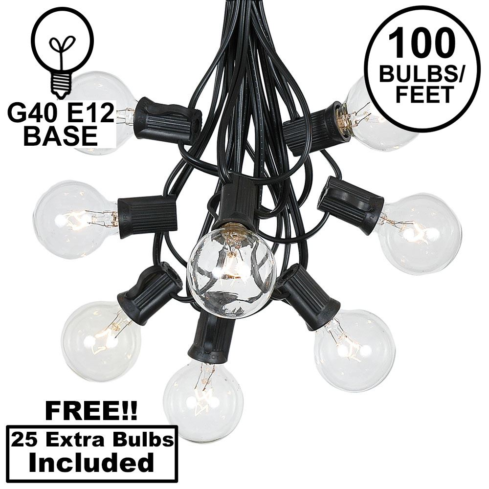 Picture of 100 G40 Globe String Light Set with Clear Bulbs on Black Wire