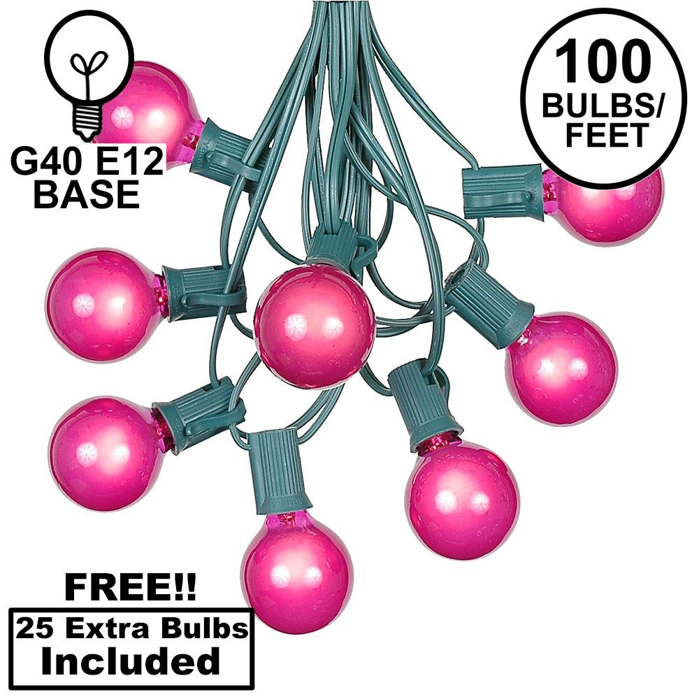 Picture of 100 G40 Globe String Light Set with Pink Bulbs on Green Wire