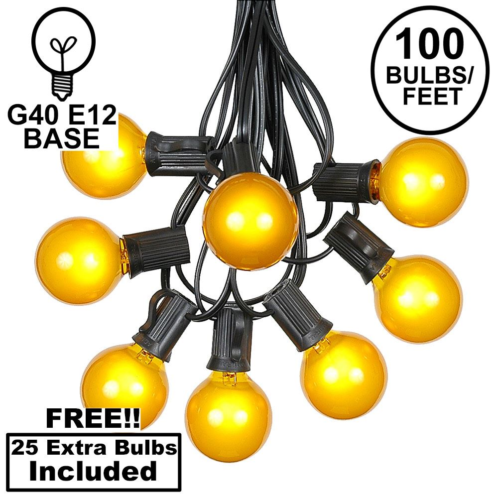 Picture of 100 G40 Globe String Light Set with Yellow Bulbs on Black Wire