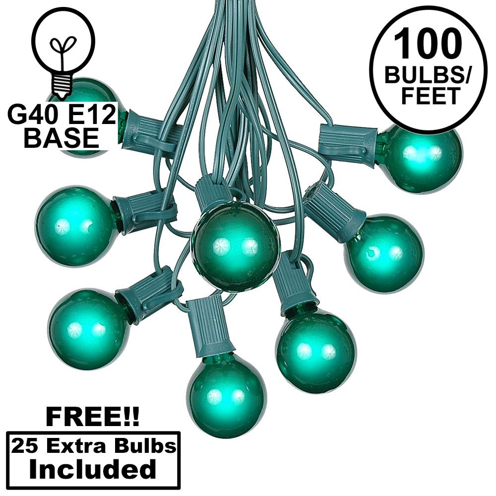 Picture of 100 G40 Globe String Light Set with Green Bulbs on Green Wire