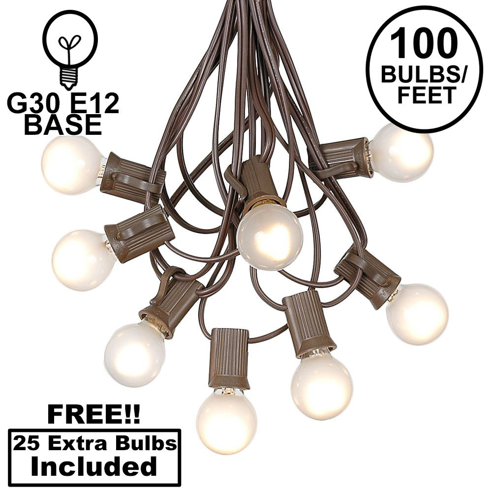 Picture of 100 G30 Globe String Light Set with Frosted White Bulbs on Brown Wire