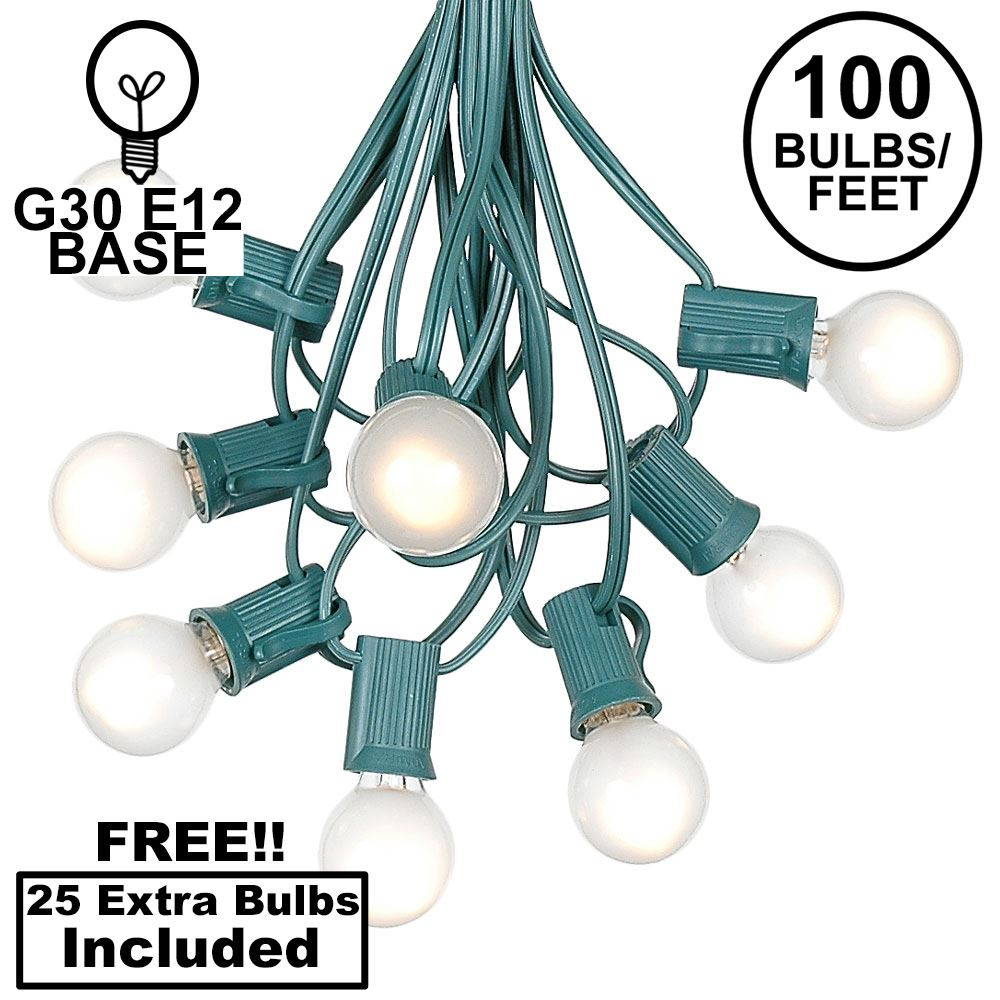 Picture of 100 G30 Globe String Light Set with Frosted White Bulbs on Green Wire